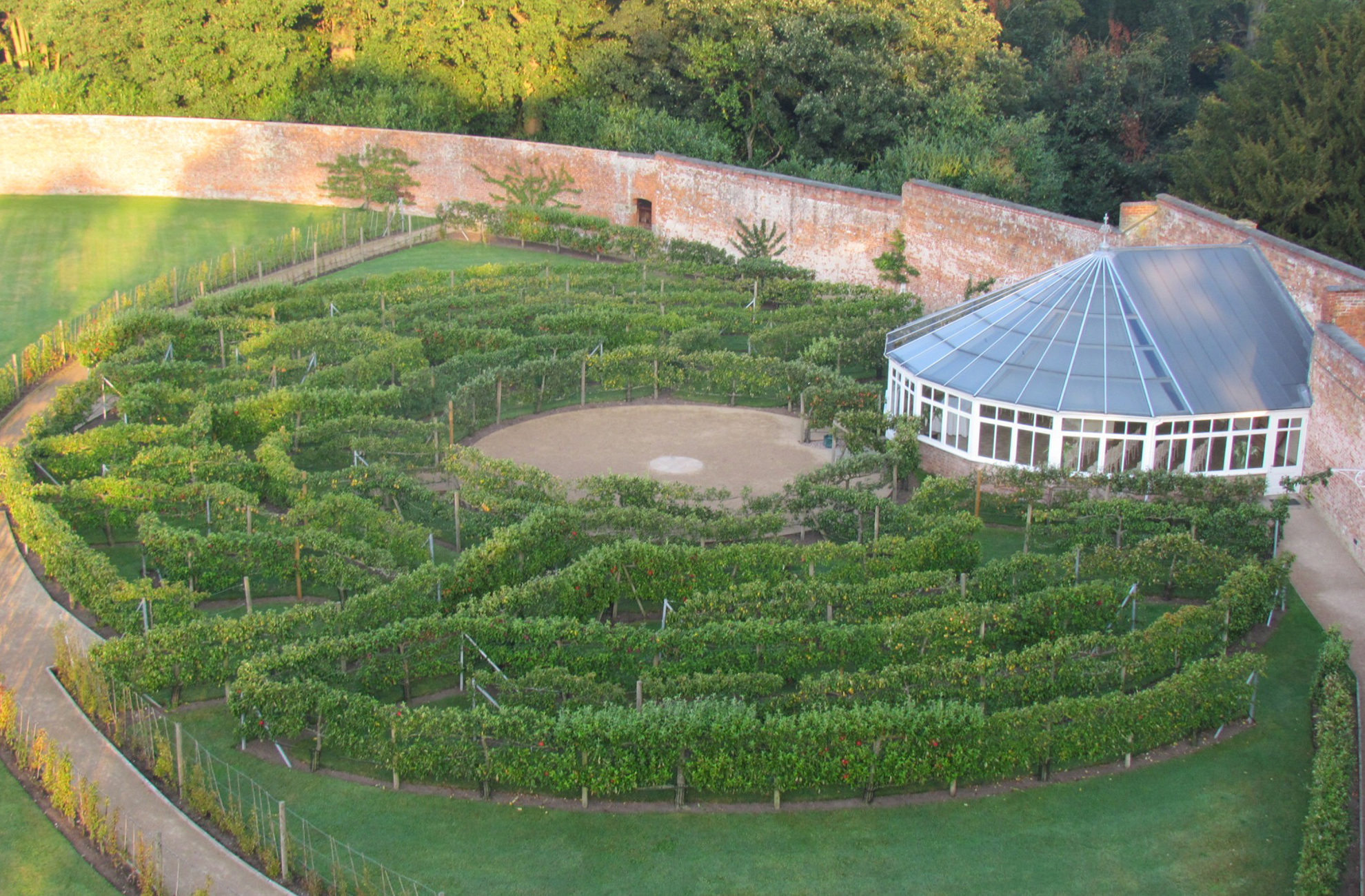 Aerial View of the Glasshouse at Combermere Abbey, estate, wedding venue and accommodation in Cheshire