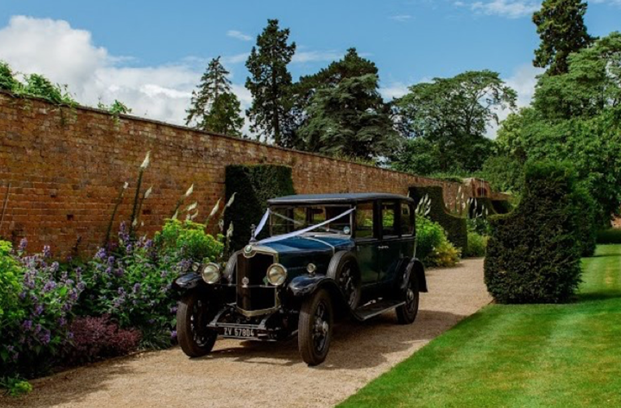 Vintage Crossley wedding transport for your wedding day at Combermere Abbey