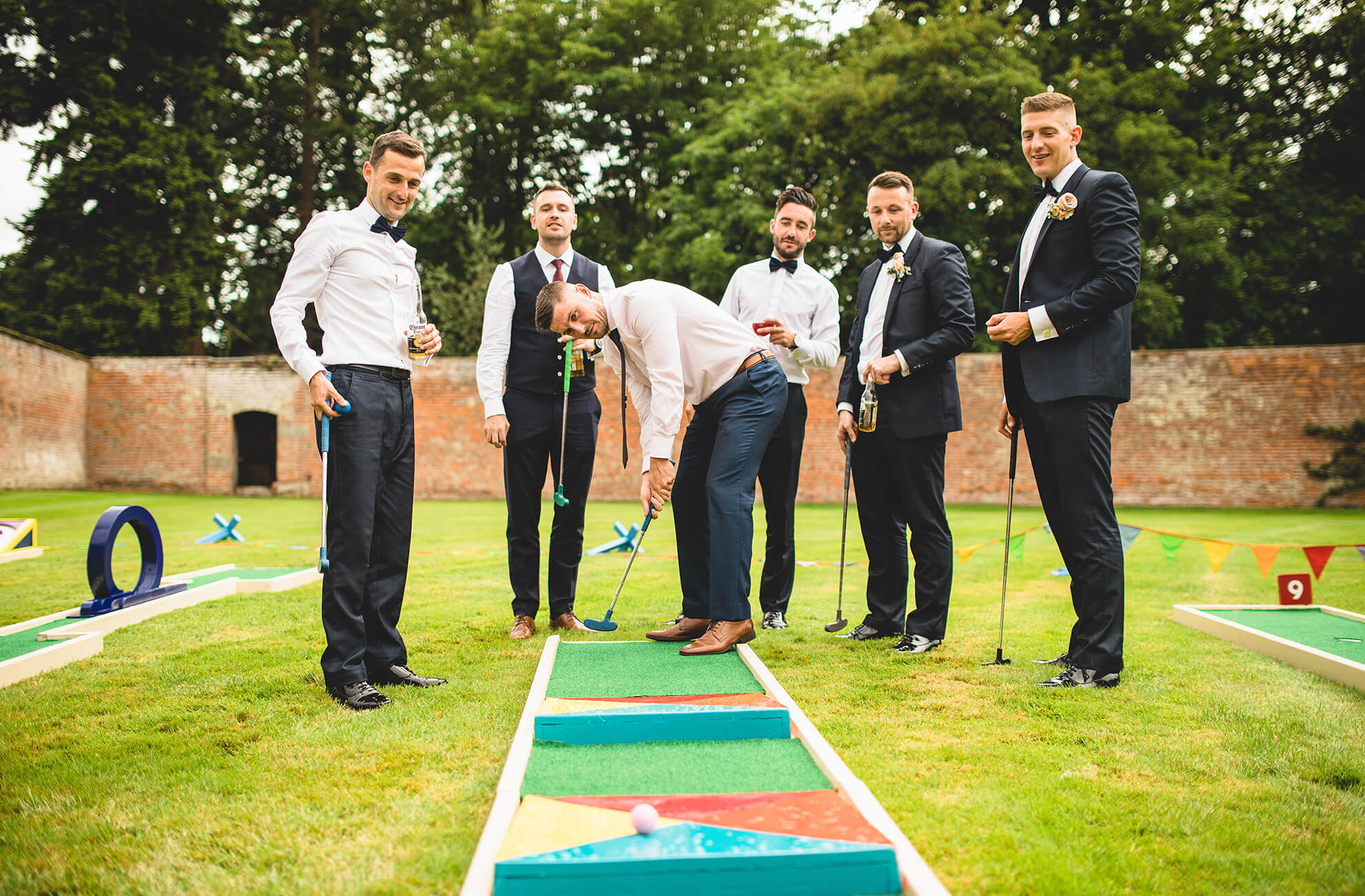 Crazy golf is a great wedding game to keep guests entertained during oyur wedding day at Combermere Abbey
