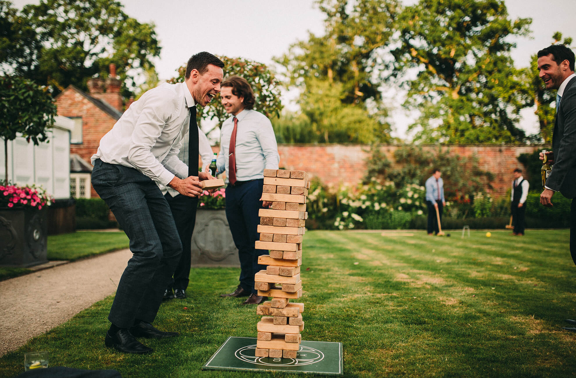 The gardens at Combermere Abbey are perfect for wedding guests to enjoy a game of giant jenga on your wedding day