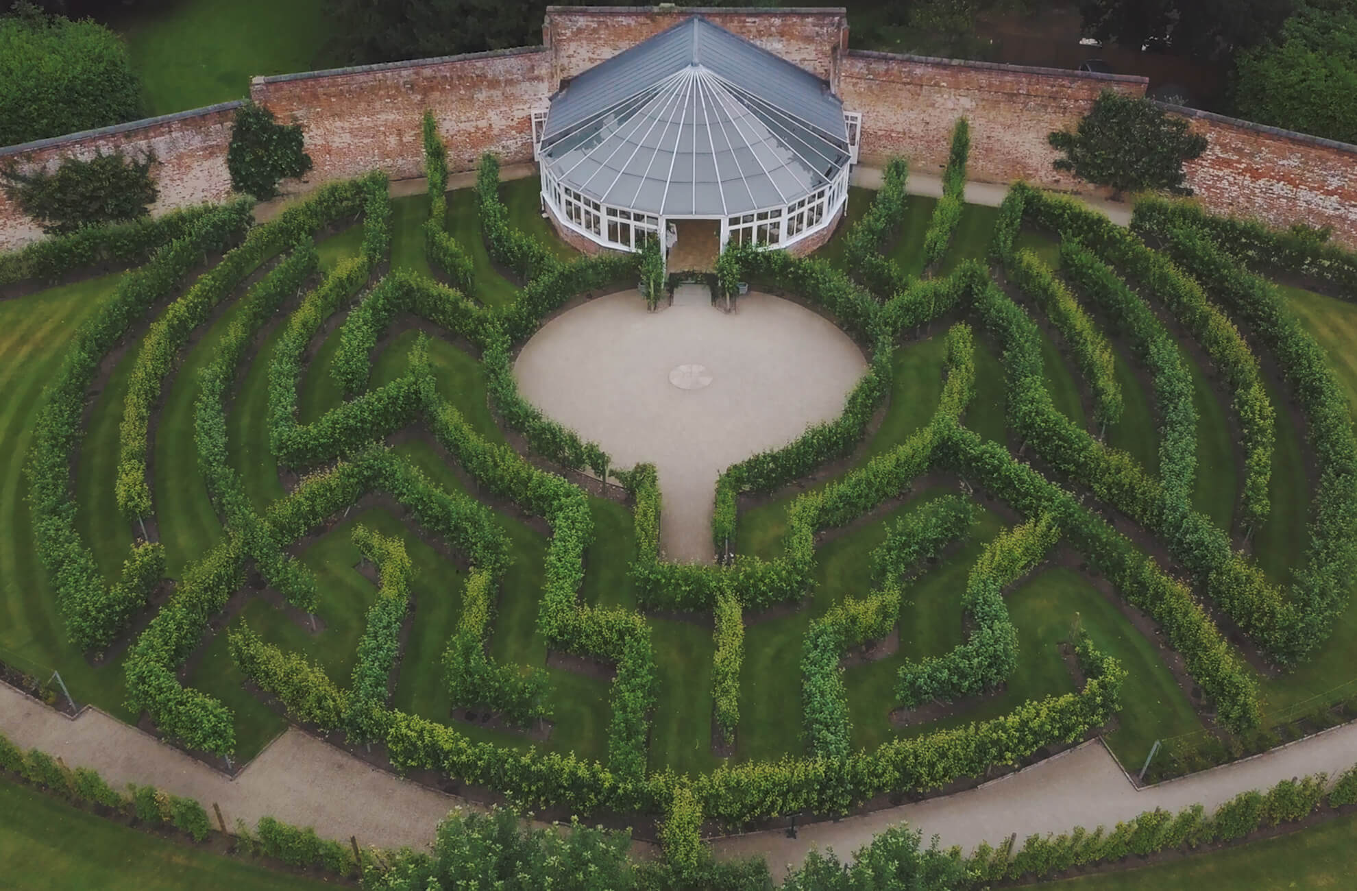 The stunning fruit tree maze at Combermere Abbey is great fun for all your wedding guests