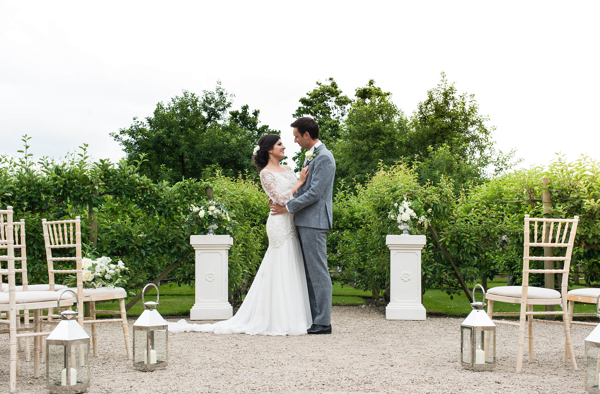 At this Cheshire wedding venue the Fruit Tree Maze creates a stunning backdrop for a wedding ceremony