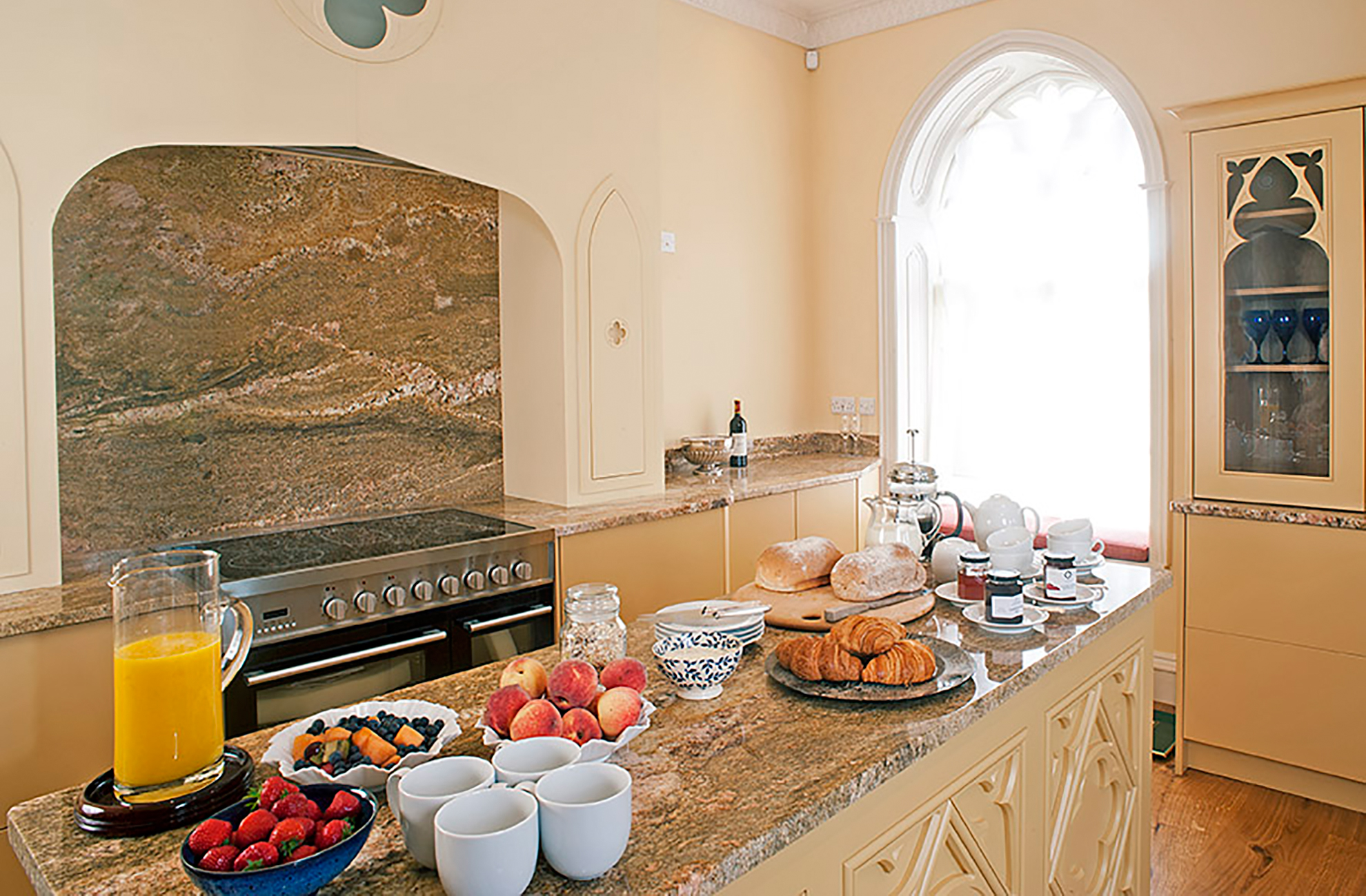The Kitchen in the North Wing at Combermere Abbey is set for a delicious breakfast