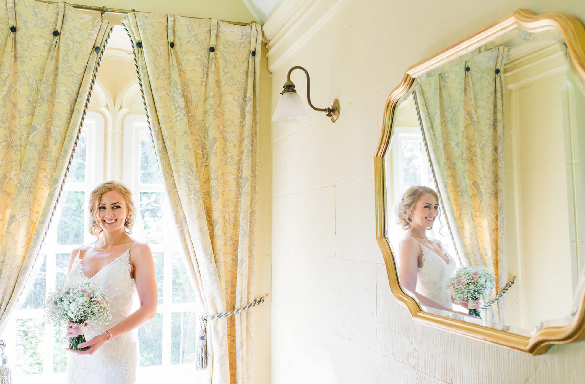 The bride prepares for her wedding day at Combermere Abbey wedding venue in Cheshire