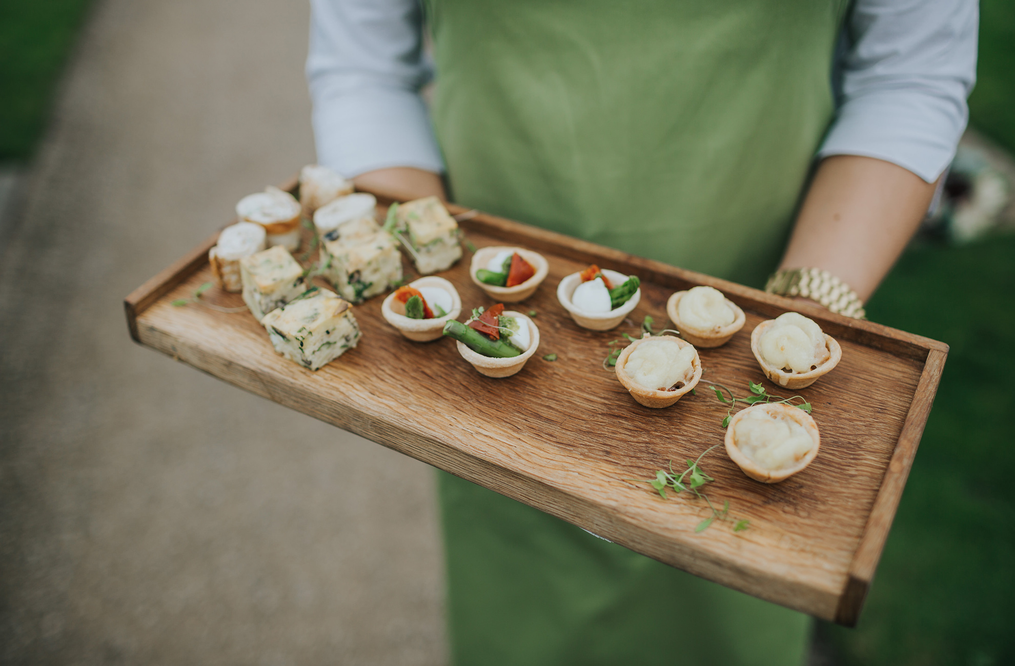 A tasty selection of canapes is perfect to serve during your drinks reception at Combermere Abbey