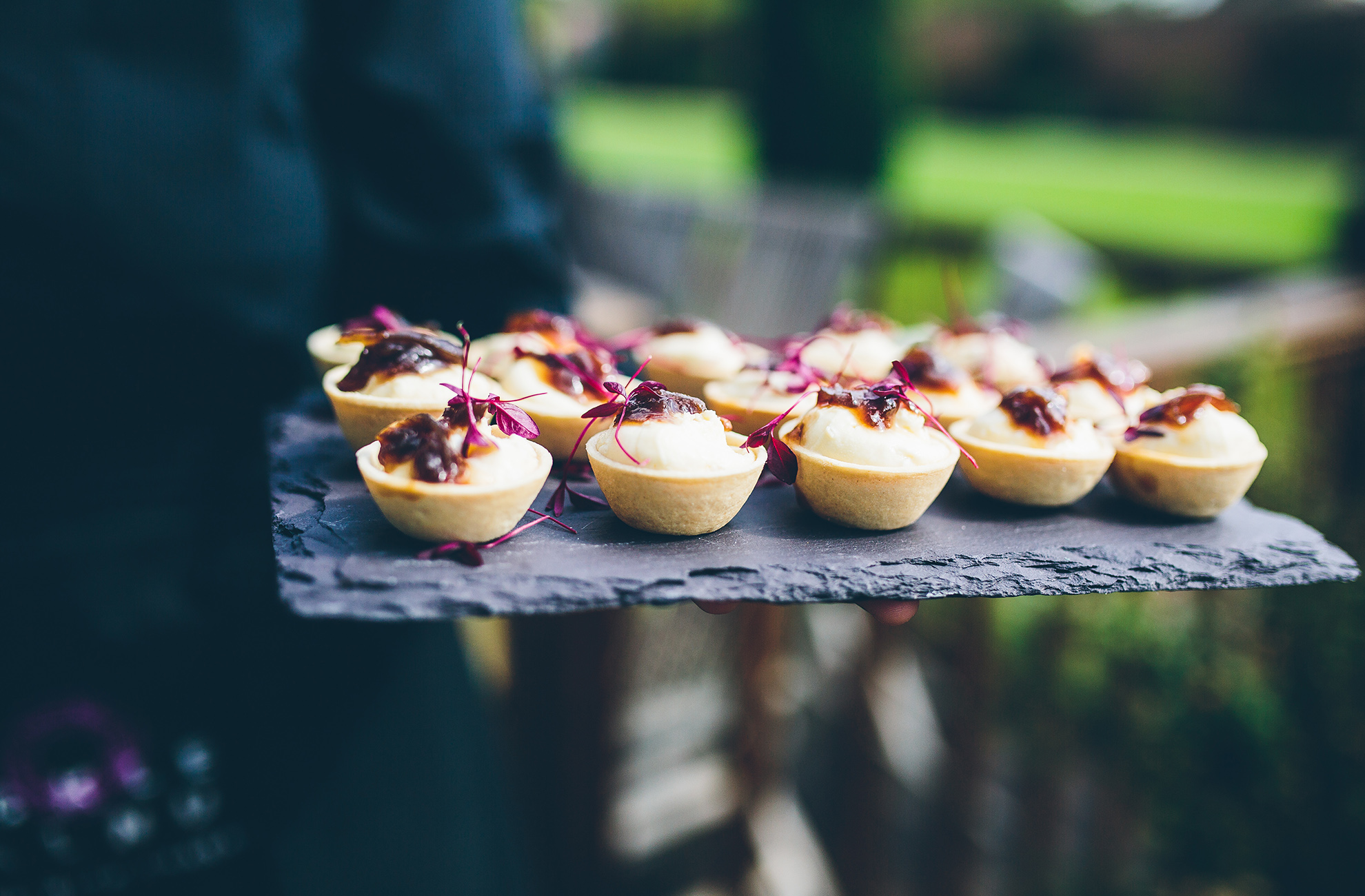 Serve a selection of modern canapes as a twist on a traditional wedding food during your reception at Combermere Abbey