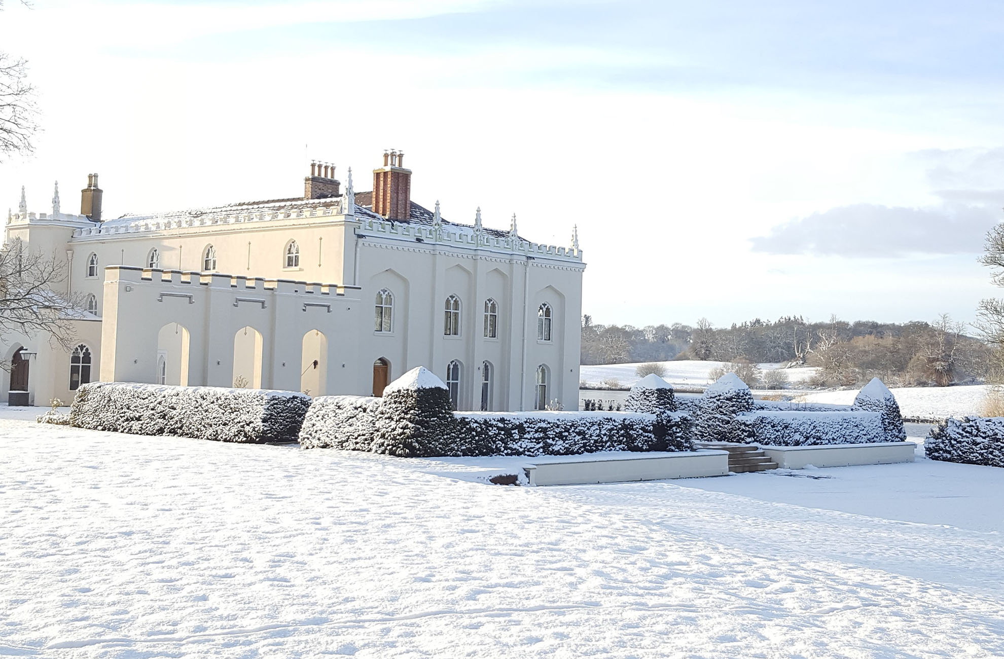 The North Wing at Combermere Abbey looks spectacular In the snow
