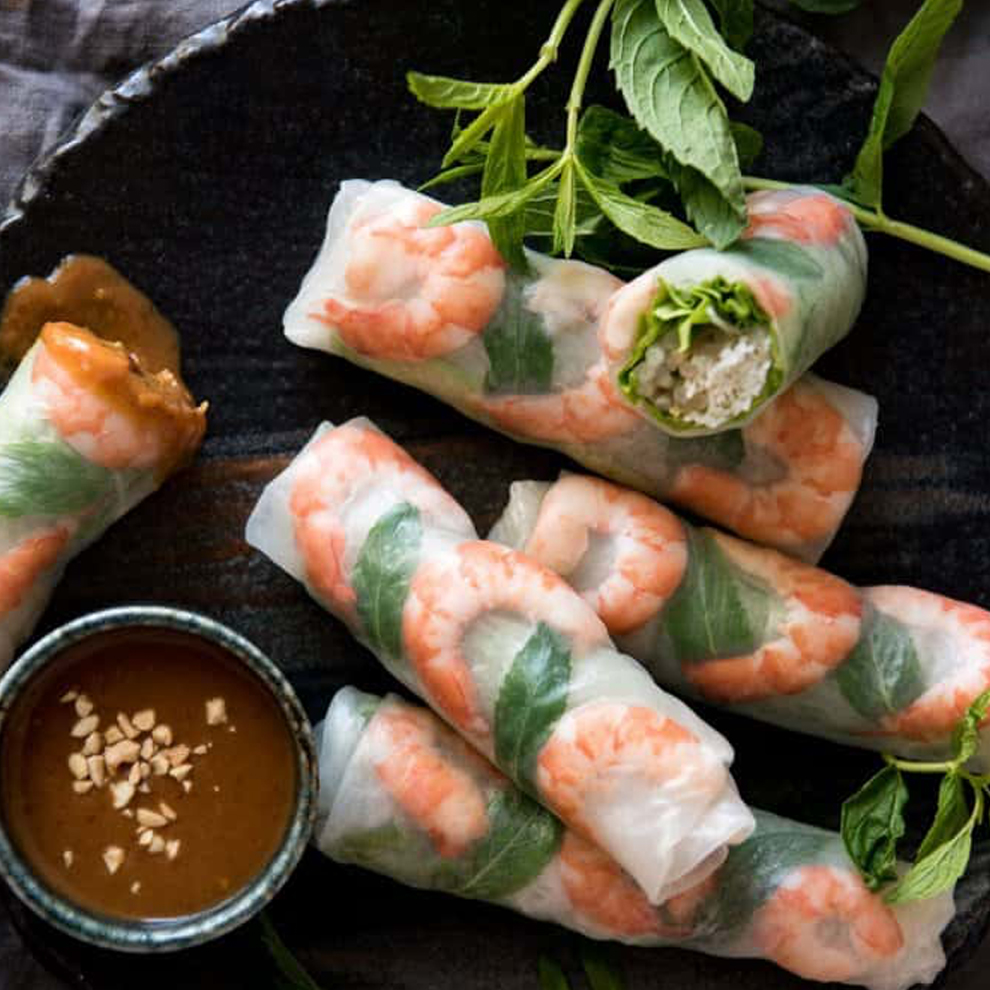 Create an international feast for your wedding breakfast at Combermere Abbey with some Vientamese prawn rolls