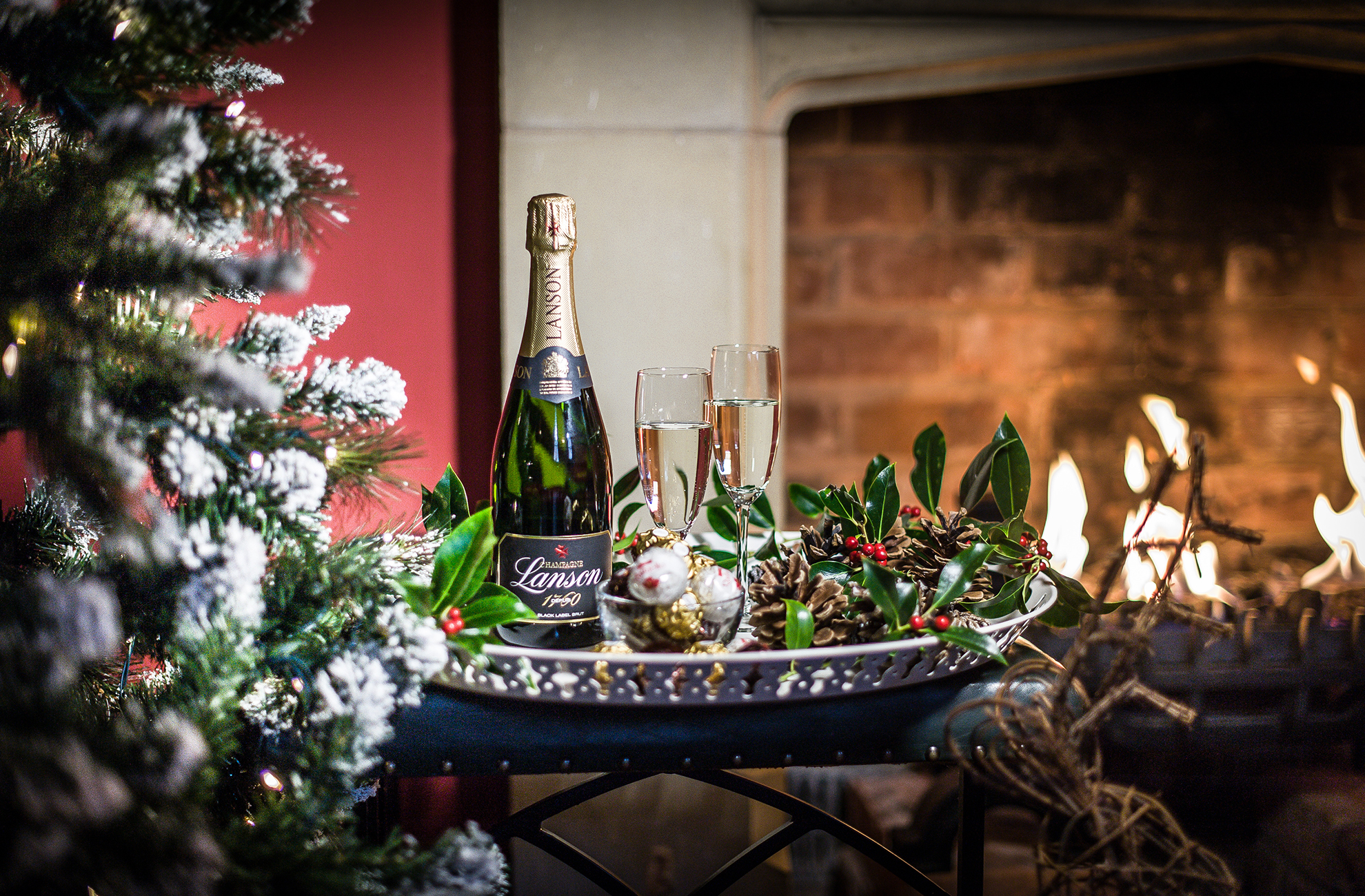 During your stay in the Cottages at Combermere Abbey why not sip Champagne next to a cosy fire
