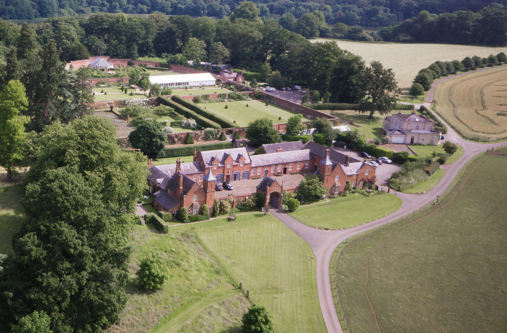 An overhead aerial view of Combermere Abbey Estate In Cheshire