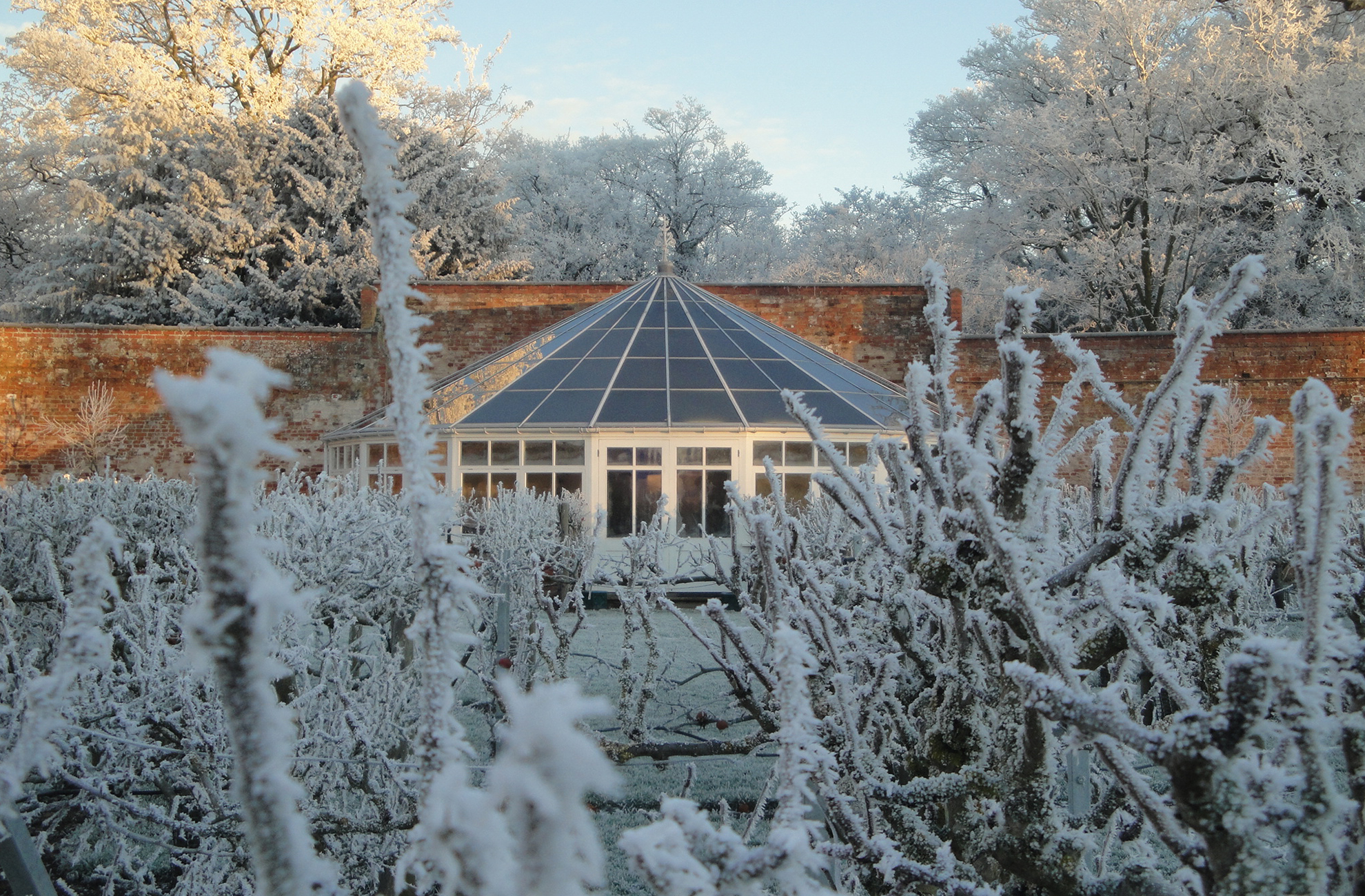 The Georgian Glasshouse at Combermere Abbey looks stunning in the winter sunshine