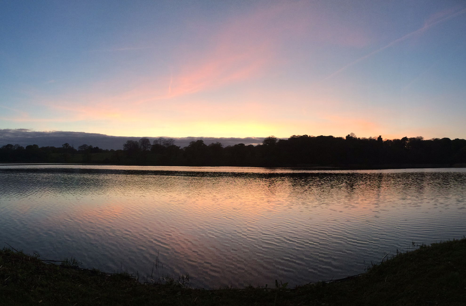 The lake at Combermere Abbey looks beautiful In the evening sun