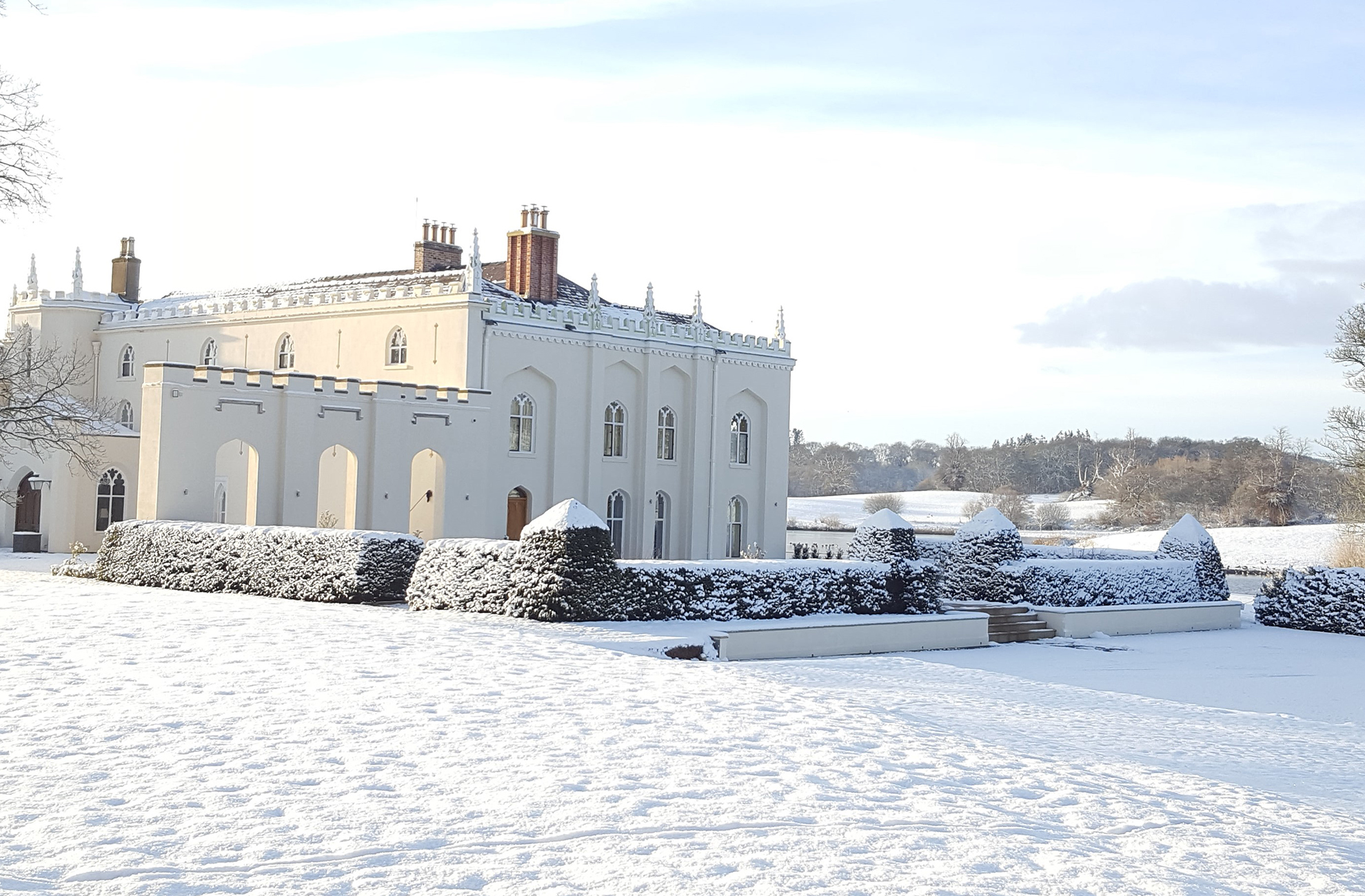 The North Wing at Combermere Abbey looks beautiful in the snow