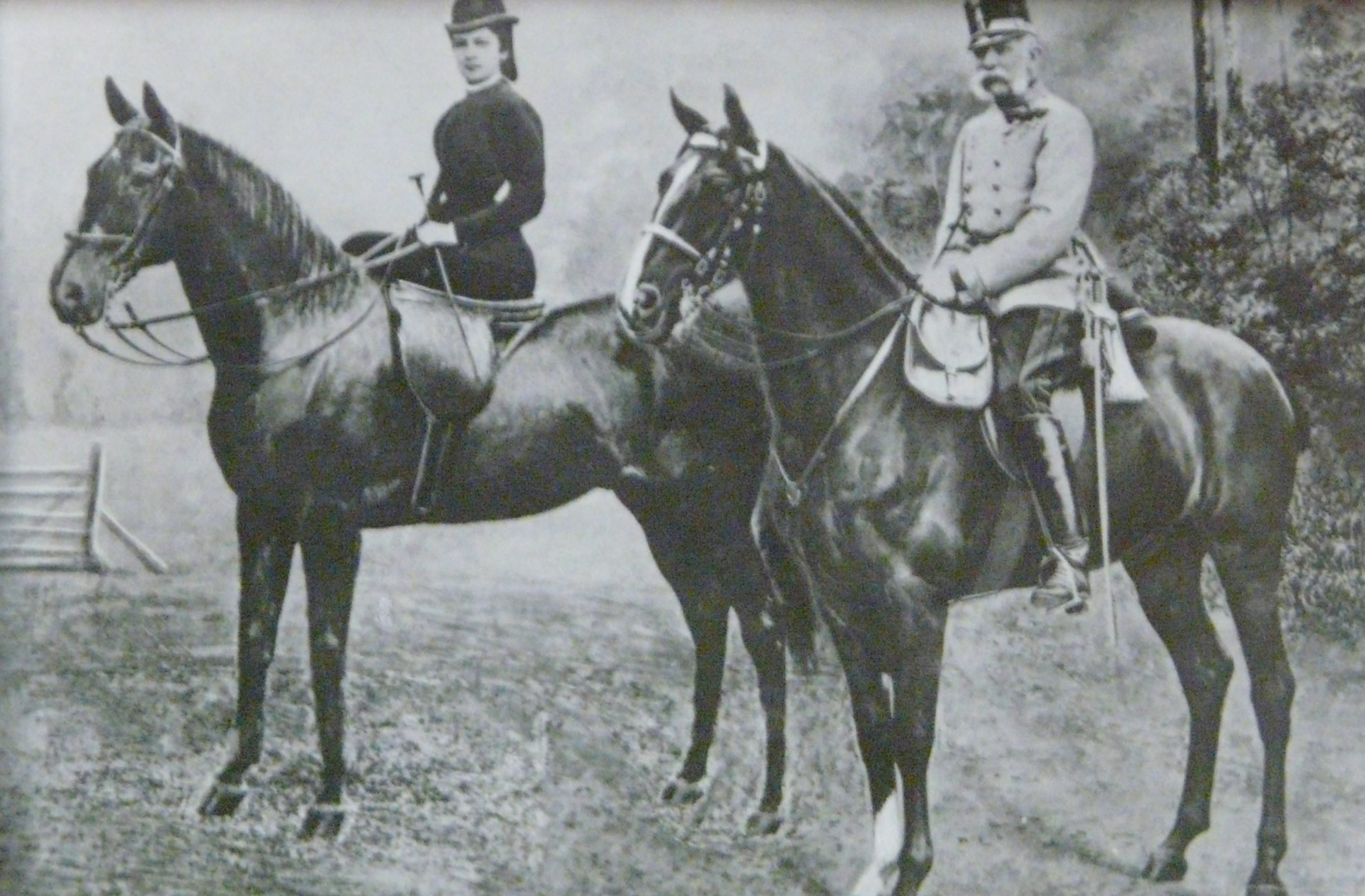 An old image of the Empress of Austria thought to be on her horse at Combermere Abbey