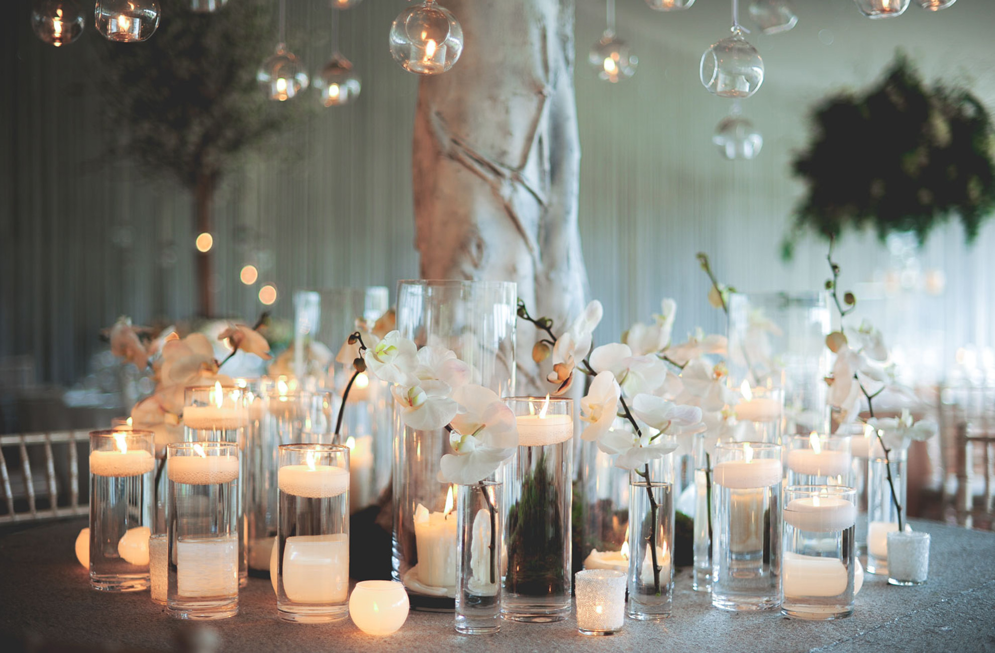 Add scented candles to your table centrepieces to remind you of your spring wedding day at Combermere Abbey