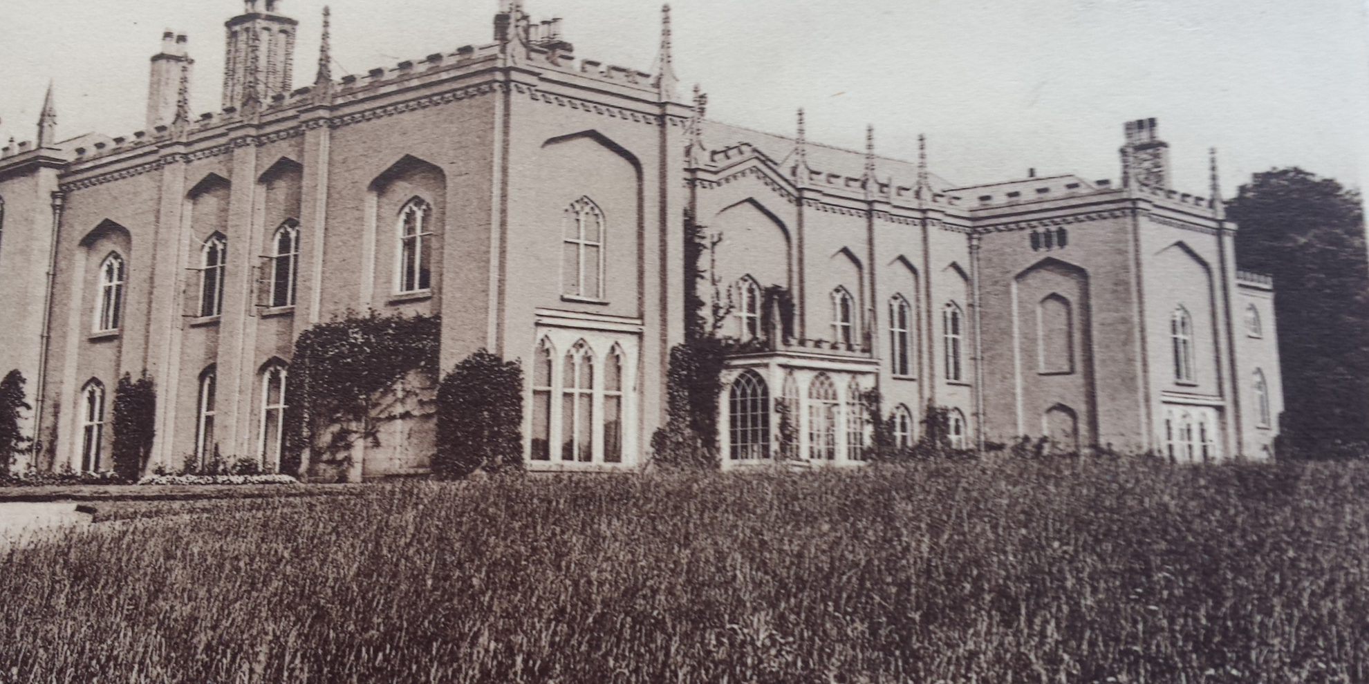 An image from the 1920's showing the magnificent North Wing at Combermere Abbey