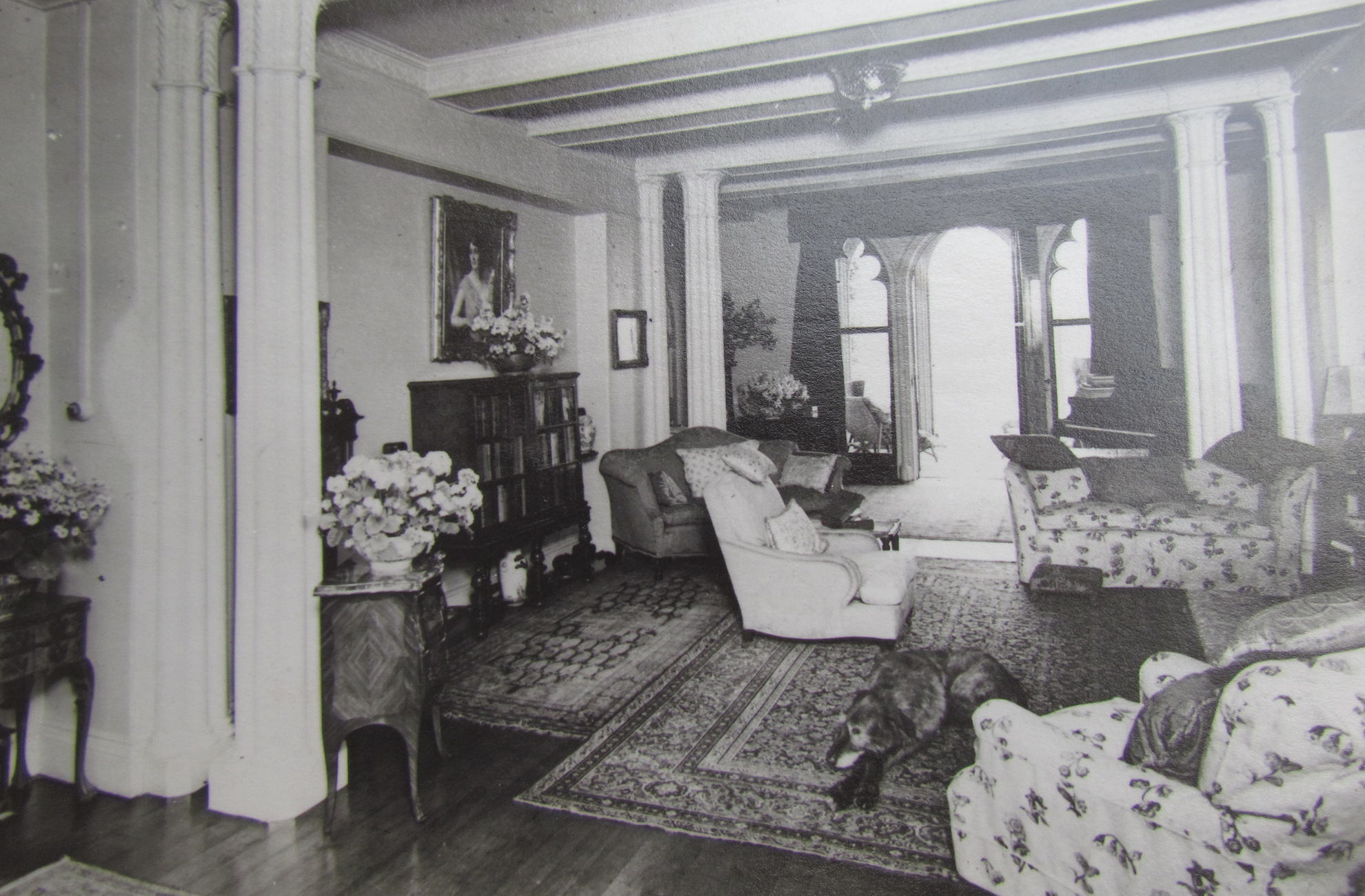 An image from 1950 of the Porter's Hall at Combermere Abbey