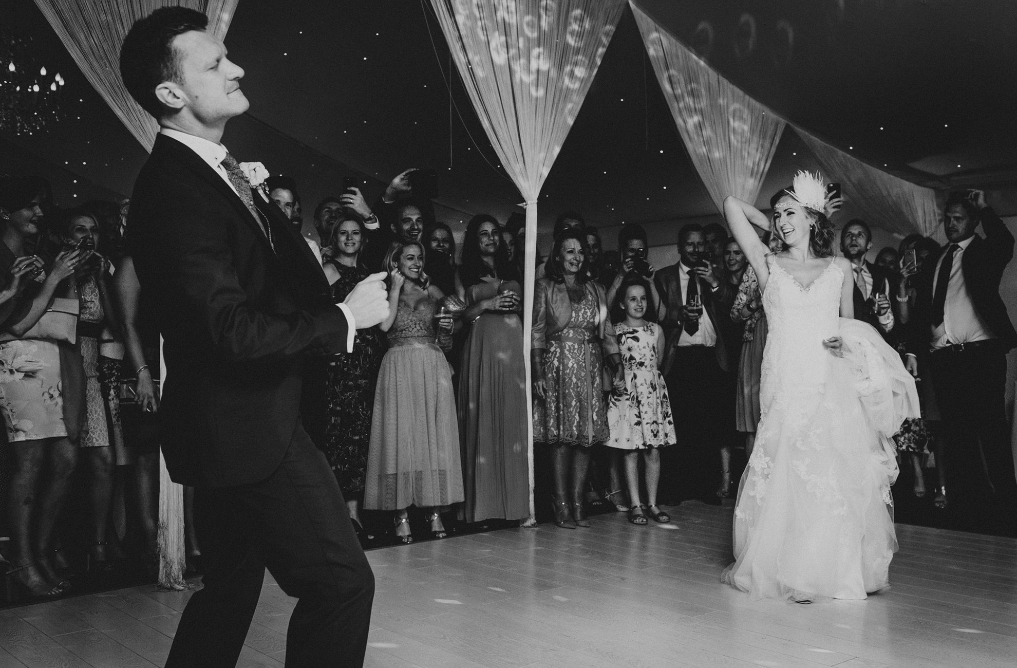 A couple chose a 1920's inspired first dance routine for their wedding reception at Combermere Abbey