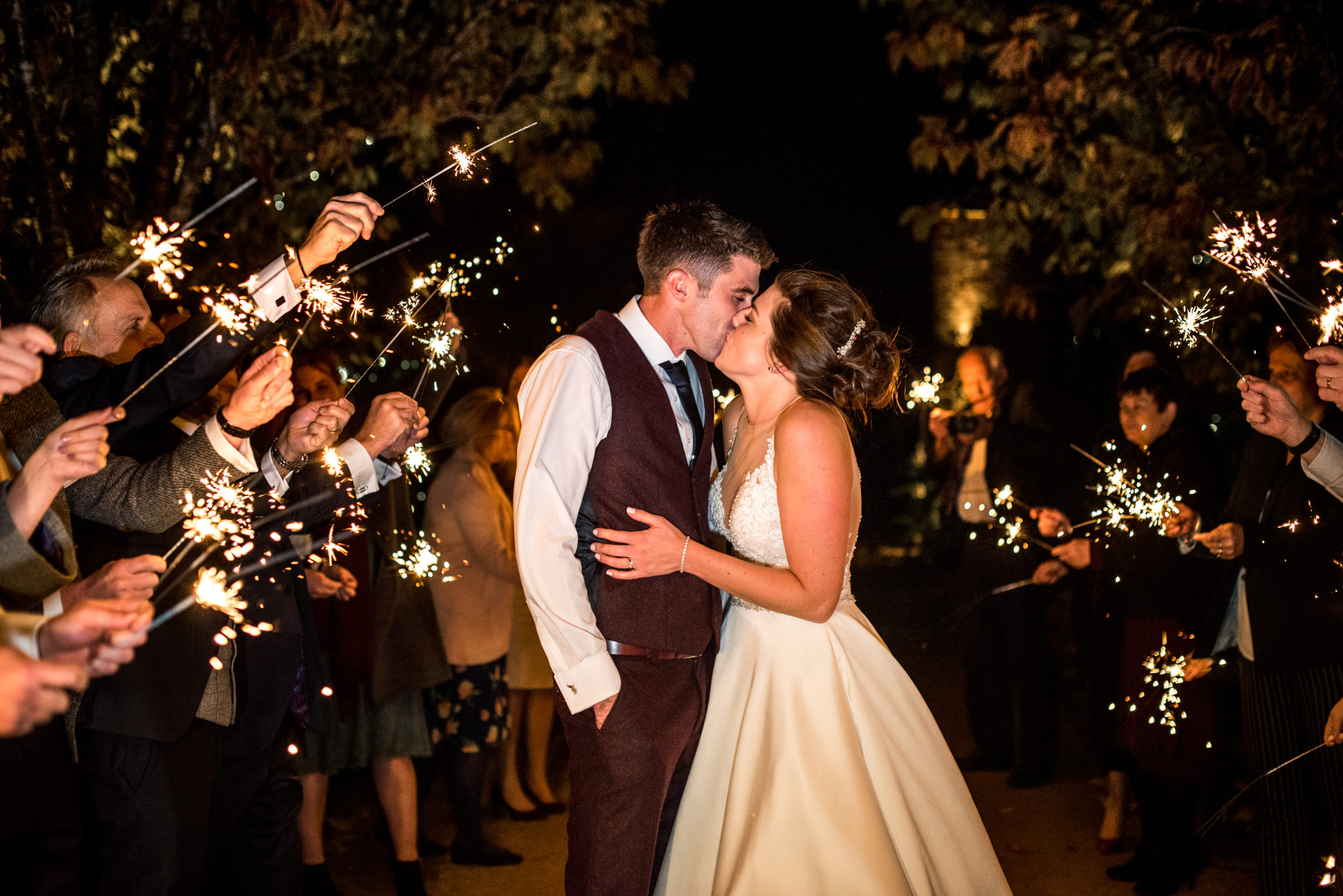 Autumn wedding sparkler send off at Combermere Abbey