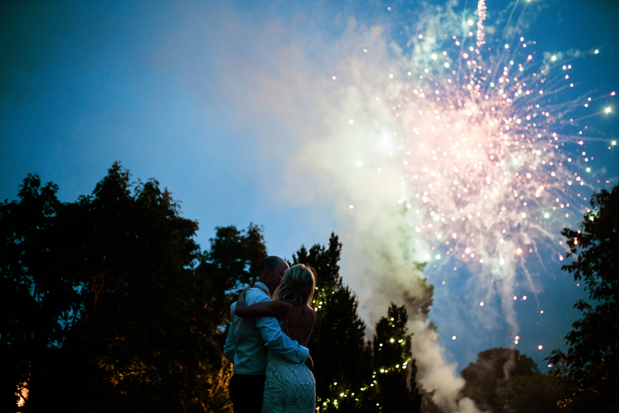 Autumn wedding fireworks at Combermere Abbey