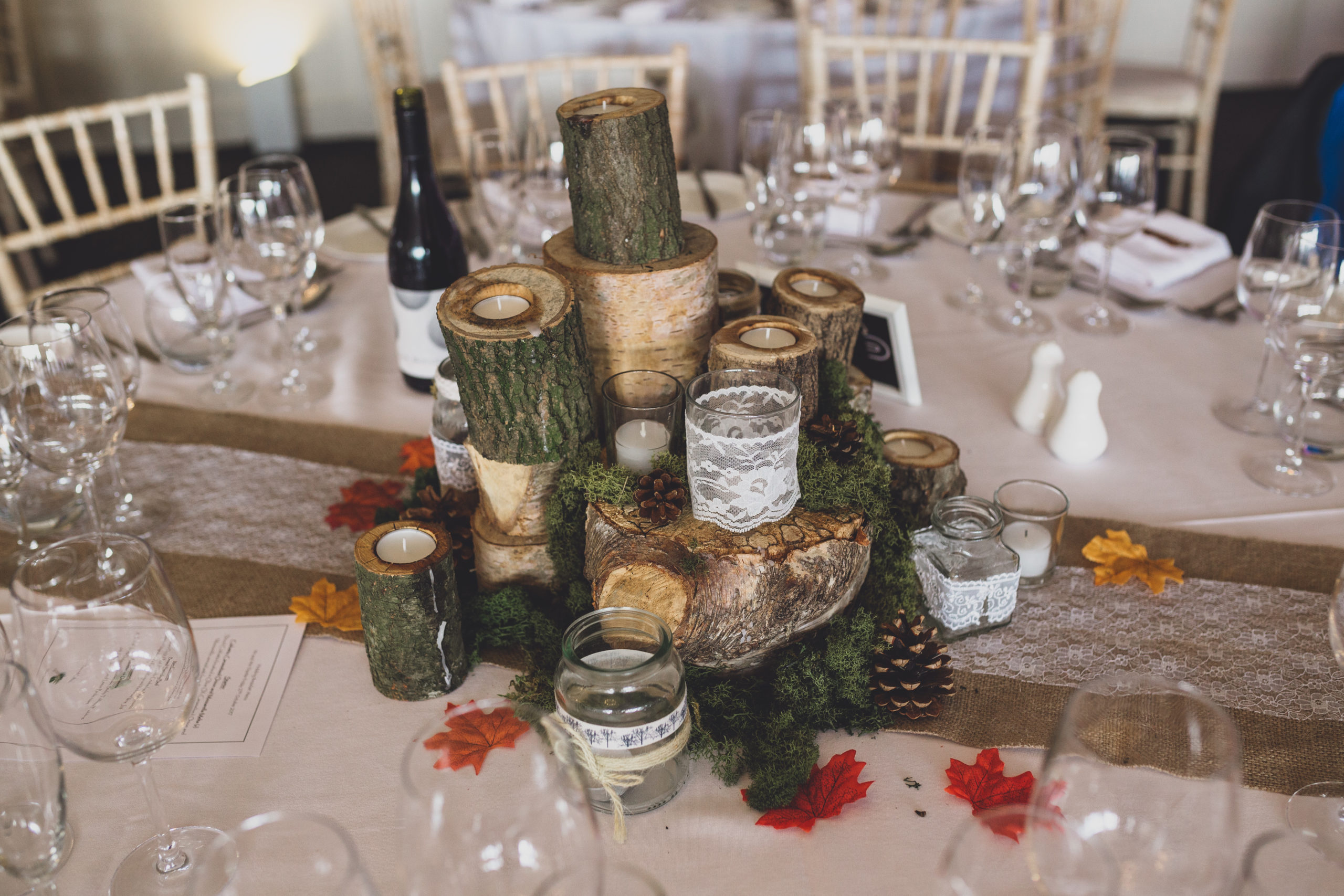 Autumn wedding tablescape at Combermere Abbey