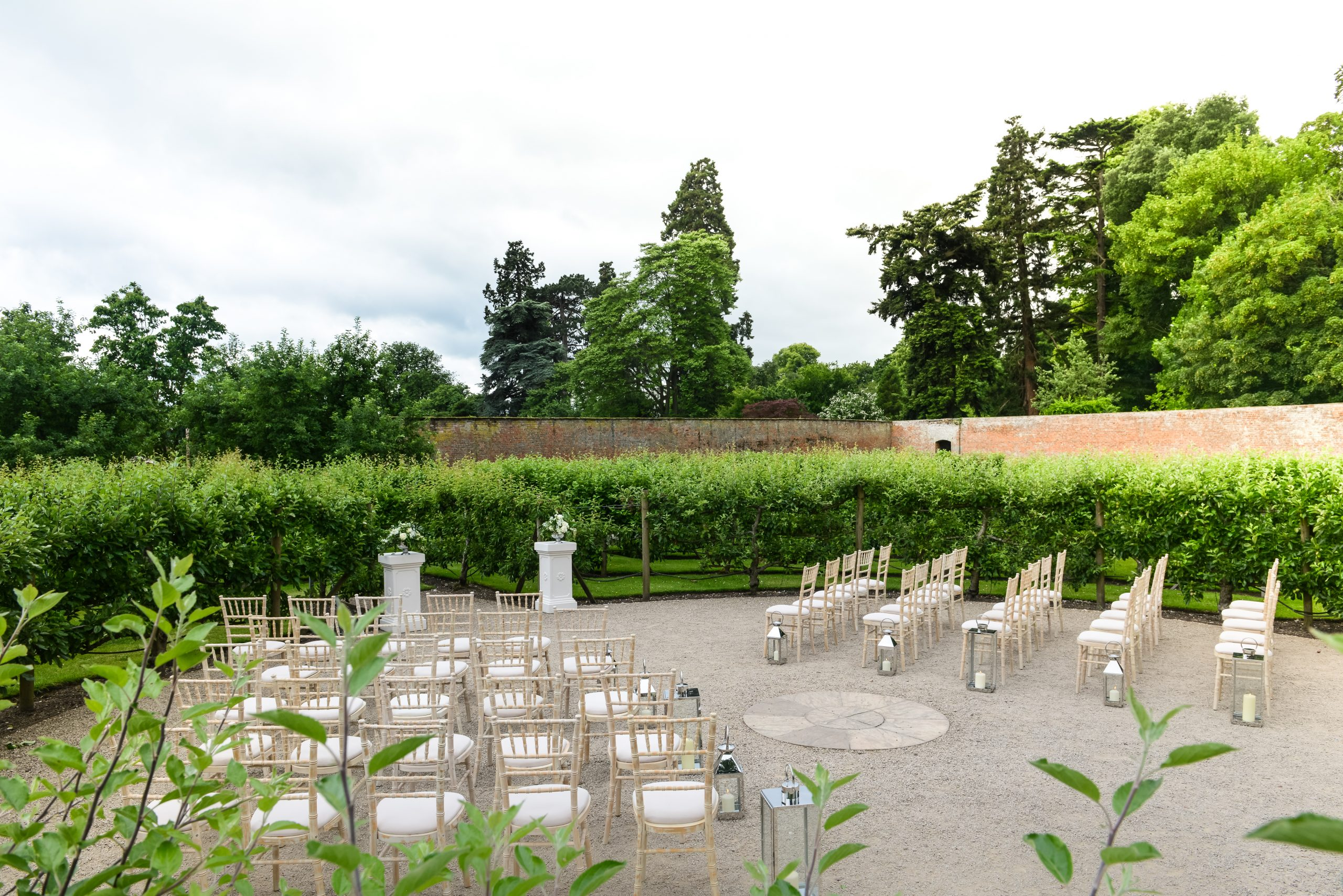 Outdoor weddings at Combermere Abbey in the fruit tree maze