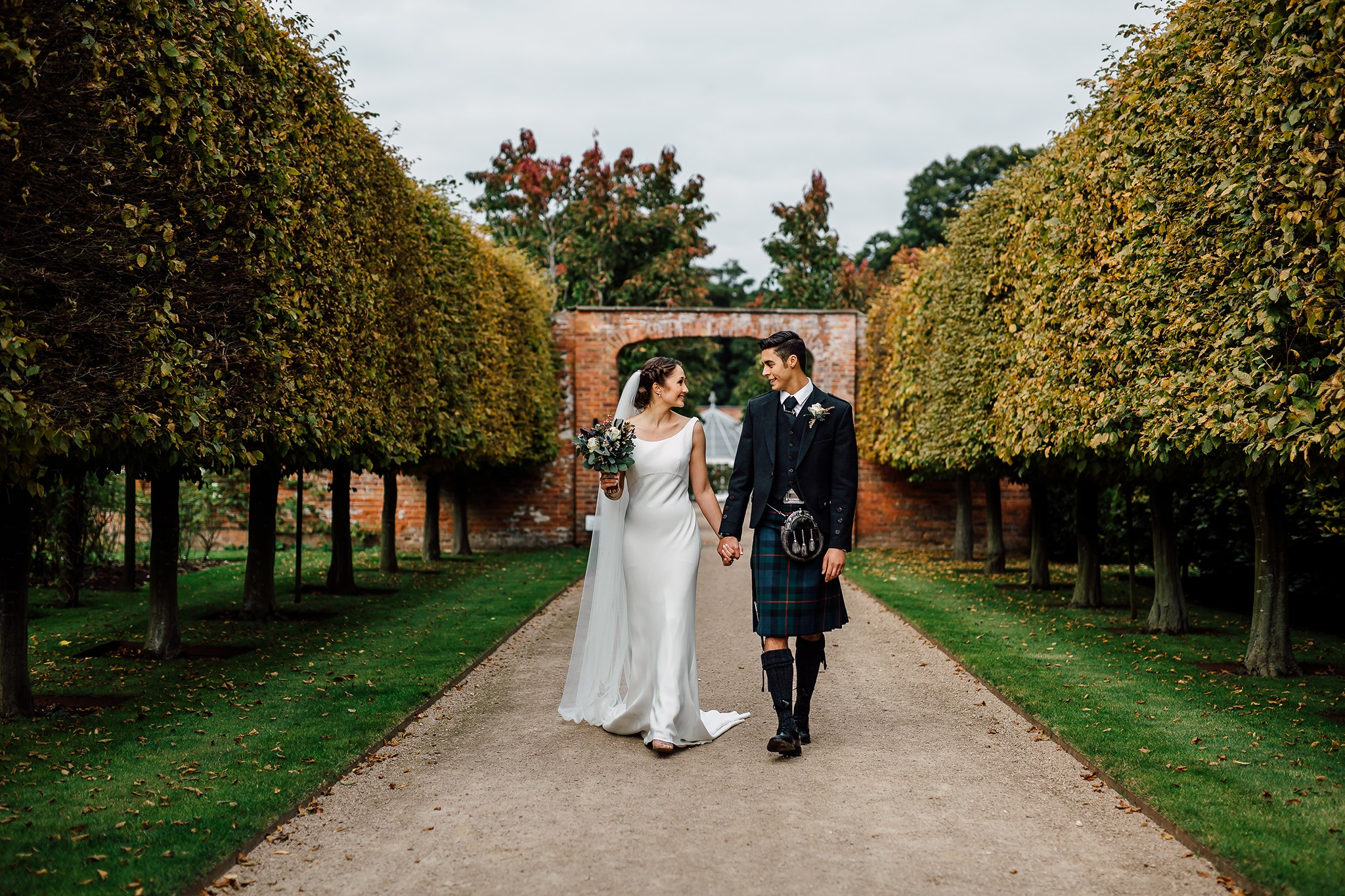 Autumn weddings at Combermere Abbey in the gardens