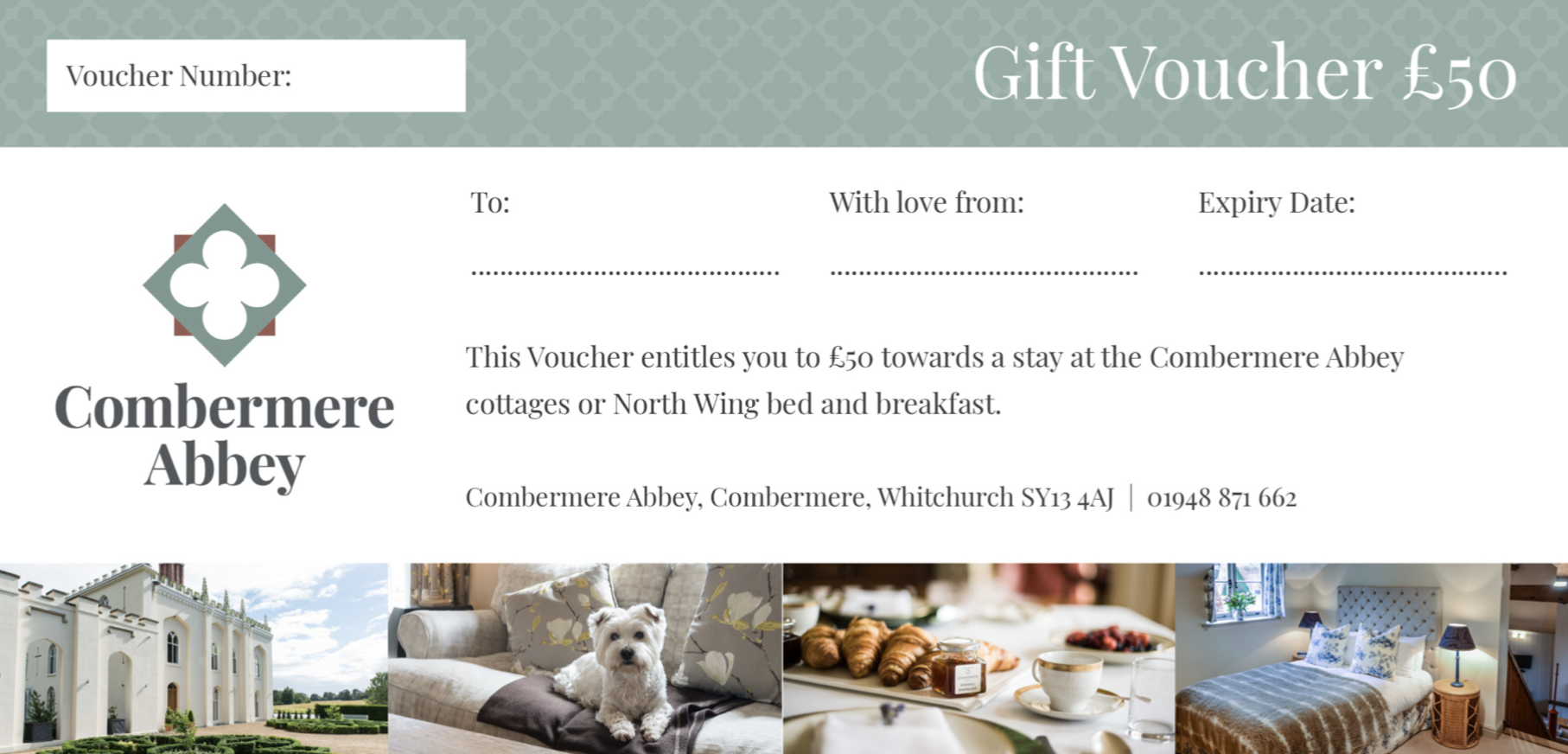 Combermere Abbey gift voucher